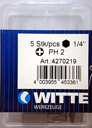 Witte 4270219 Caja 5 Puntas de Destornillador Ph. 2x25mm ...
