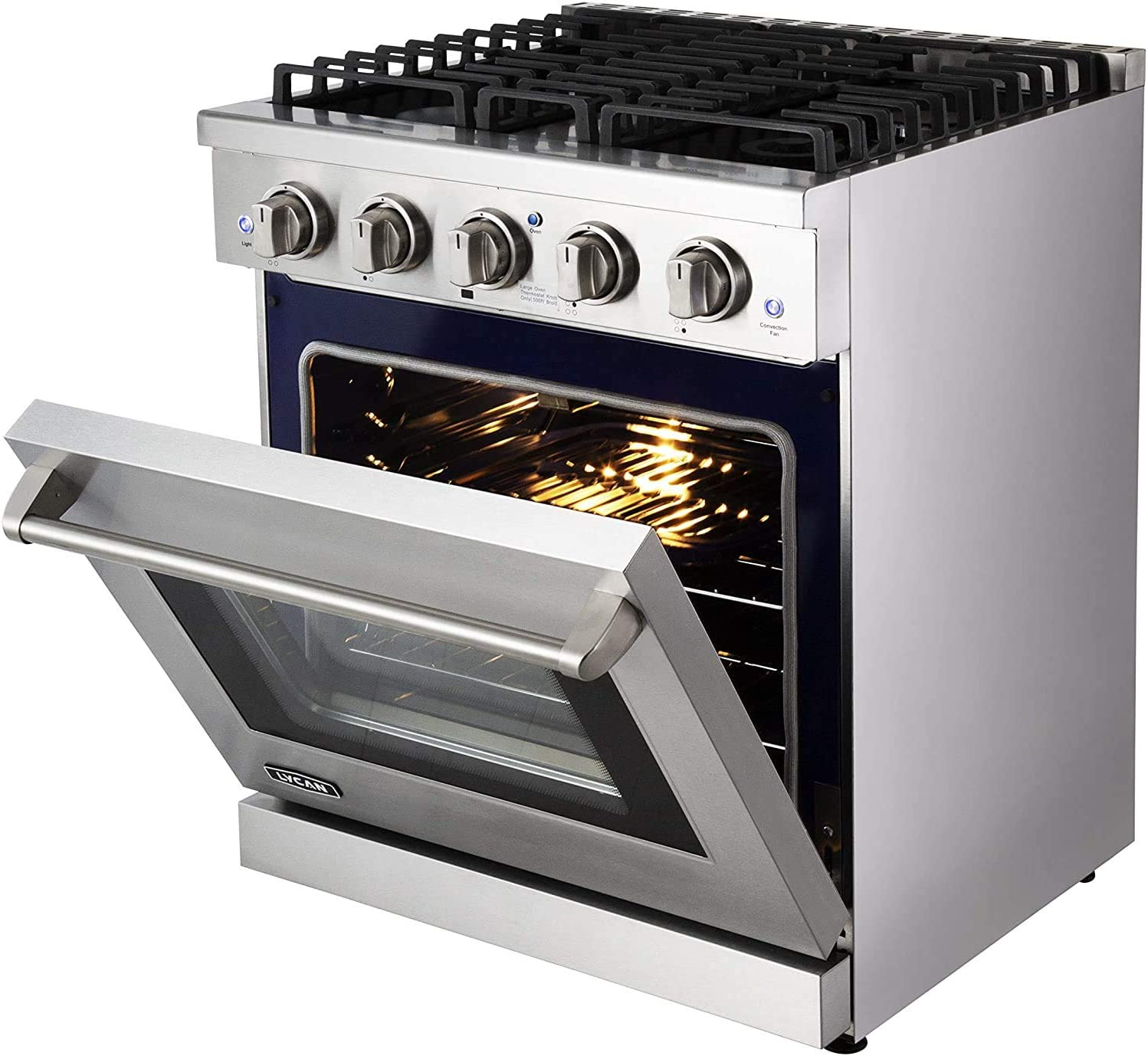 Kitchen Gas Adjustable Rack-Premium Freestanding Oven Range LYCAN 99AKG3019 Professional Cook Top-Heavy Duty Stainless Steel Stove with 4 Burners-4.55 cu.ft