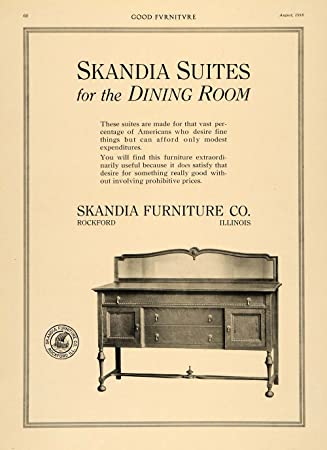 1916 Ad Skandia Furniture Dining Room Buffet Table