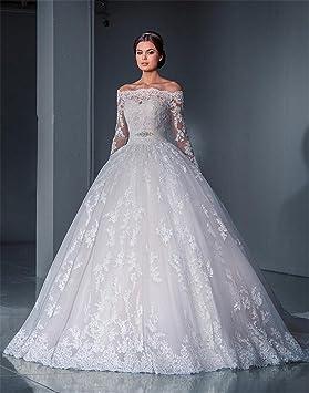 HAPPYMOOD Vestido de novia Vestidos de novia de la mujer Cordón elegante Capilla Fiesta Vestido largo