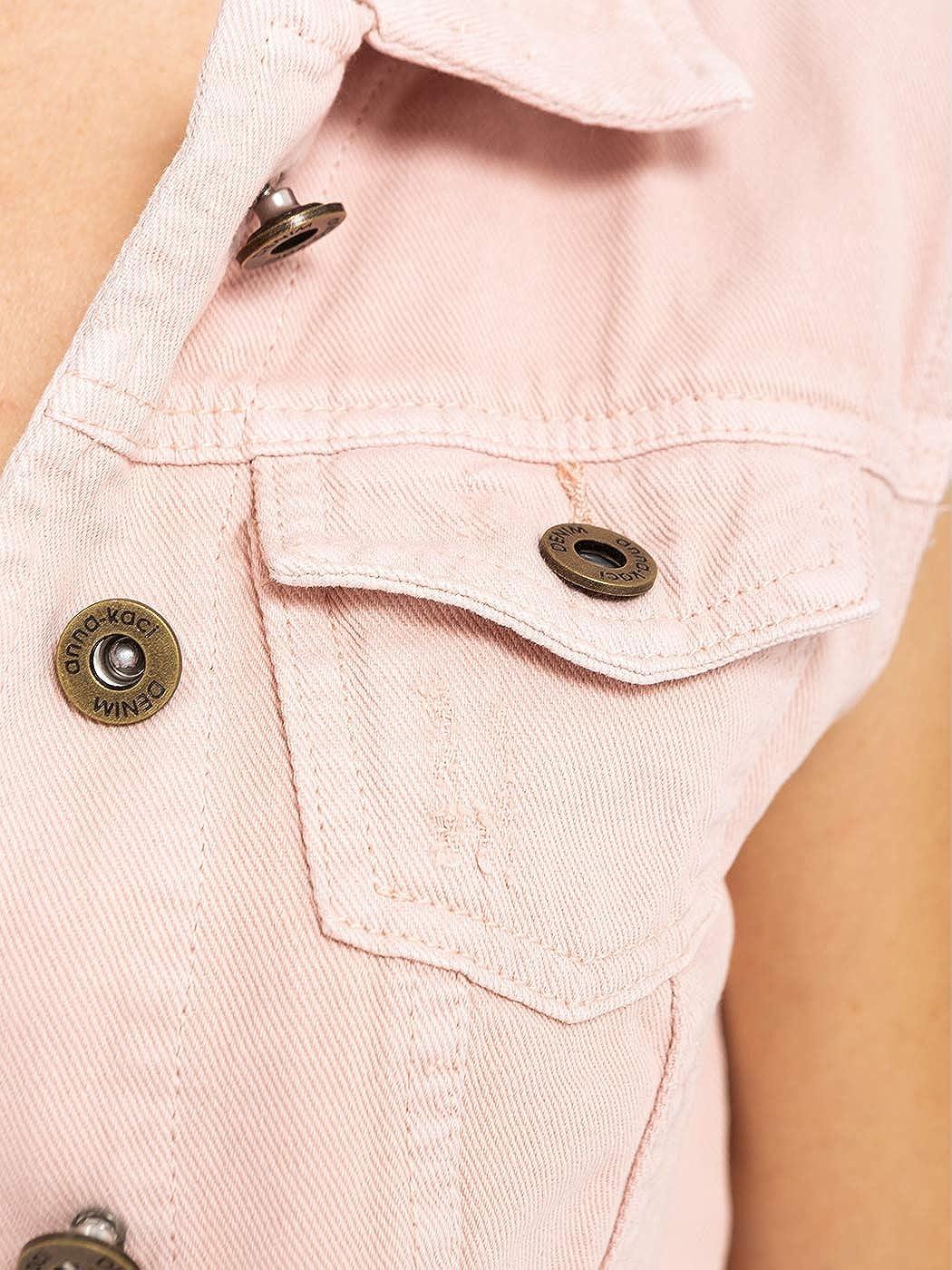 ANNA-KACI Womens Juniors Cotton Denim Blue Sleeveless Crop Jacket Jean Vest