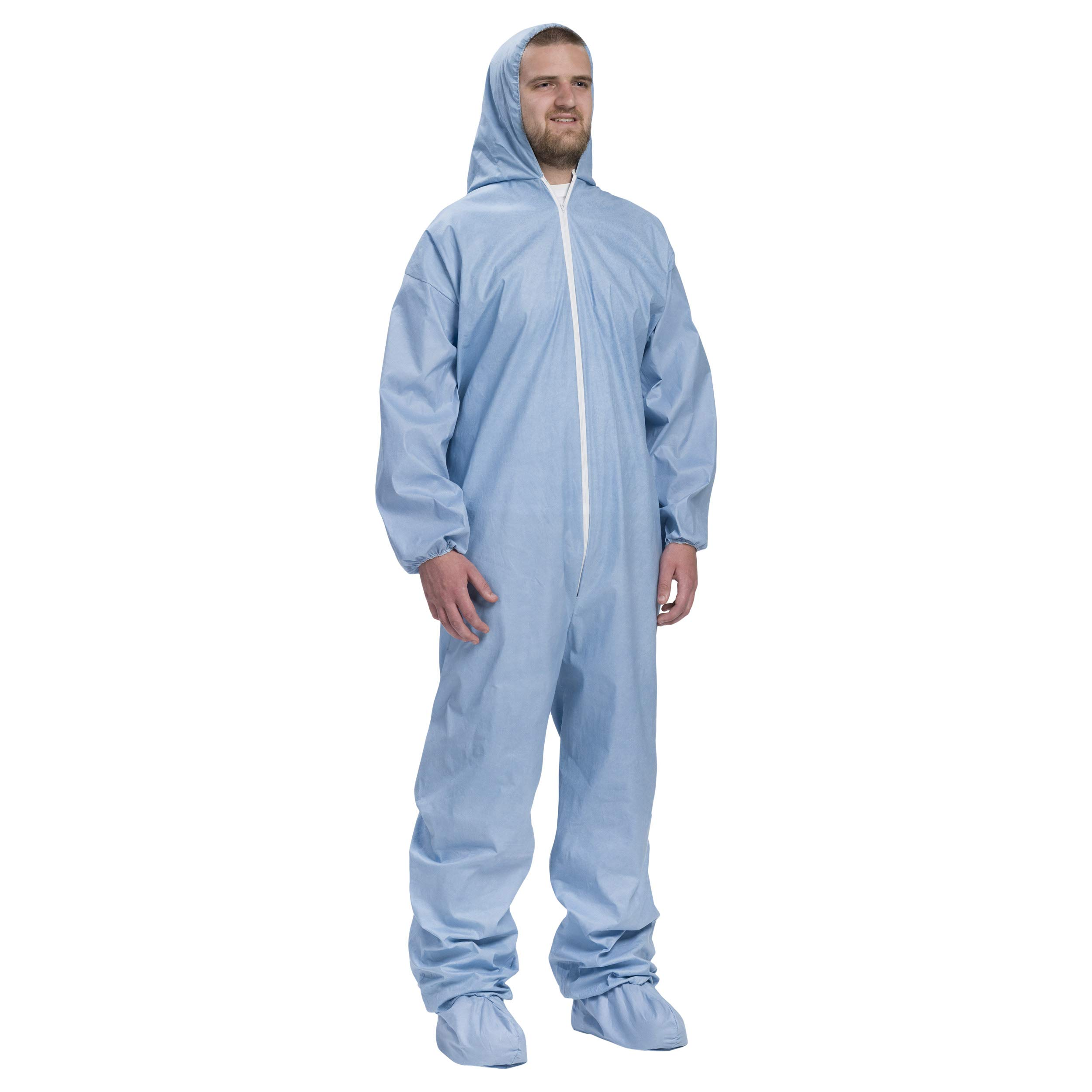 West Chester 3109/XL Posi FR Coverall Hood, Boot, Elastic Wrist & Ankle, XL, Blue (Box of 25) by West Chester (Image #5)