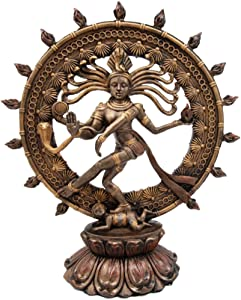 "Atlantic Ebros Hindu Shiva Nataraja Statue Lord of The Dance Cosmic Dancer God Statuette Sanskrit Hinduism Supreme Deity Figurine 9"" H"