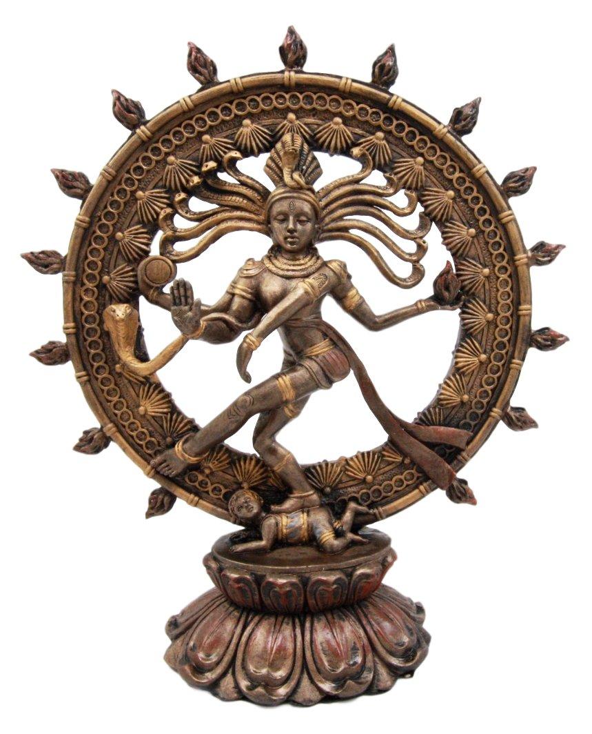 Atlantic Collectibles Hindu Shiva Nataraja Figurine Lord Of The Dance Cosmic Dancer God Statuette 9'' H