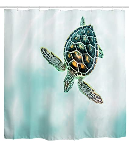 Sea Turtle Shower Curtain Waterproof And Mildew Free Polyester Fabric Bathroom Bath Curtains 72