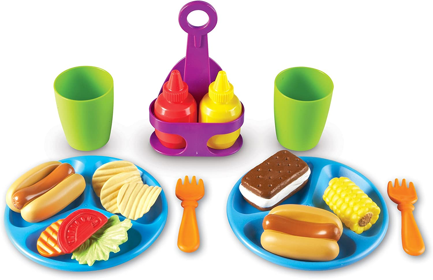 Learning Resources New Sprouts Cookout! Food, Pretend Play Food, Toddler Outdoor Toys, 19 Pieces, Ages 18 mos+