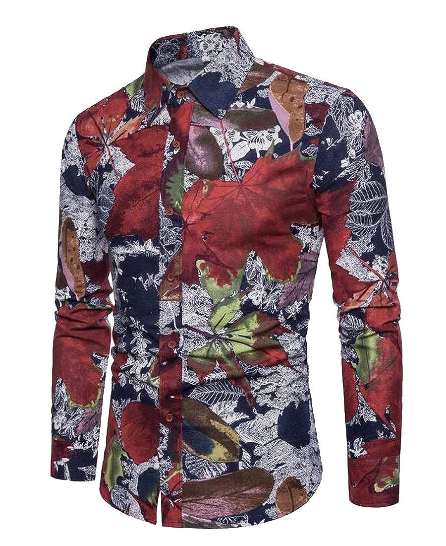 YYear Mens Cotton Linen Regular Fit Long Sleeve Casual Printed Button Down Dress Shirt