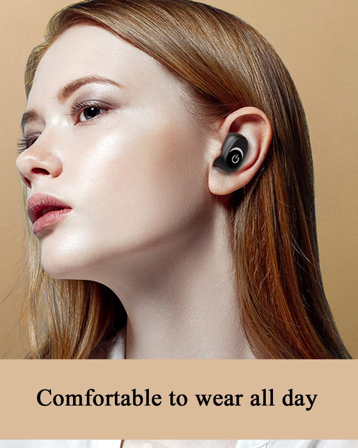 Bluetooth 5.0 Wireless Earbuds HiFi Stereo Noise Canceling Earphones with 1800mAh Charging Case Supports iPhone Android Voice Assistant (Black)