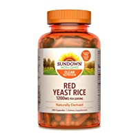 Sundown Red Yeast Rice 1200 mg Capsules (240 Count), Naturally Derived, Gluten Free...