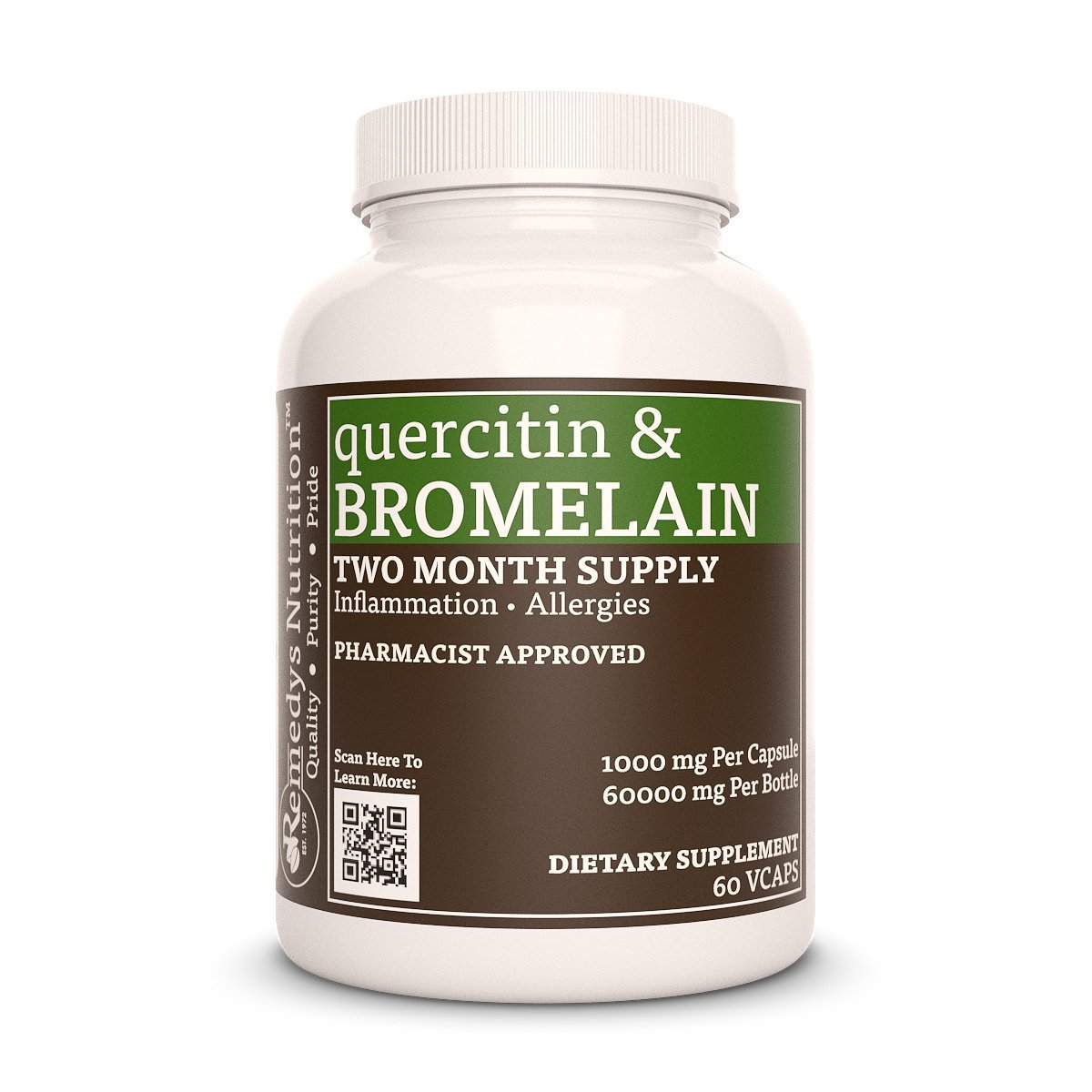 Quercetin Bromelain Remedys Nutrition, Organic, Vegan, MEGA STRENGTH 1000 mg per capsule/ 60.000 mg per bottleVcaps
