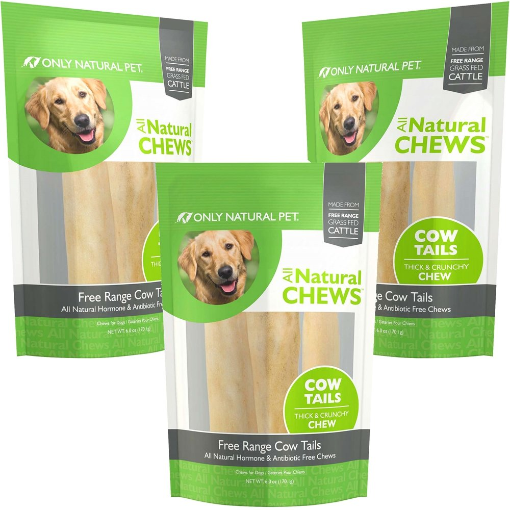 Only Natural Pet Cow Tails 6 oz Bag 3 Pack
