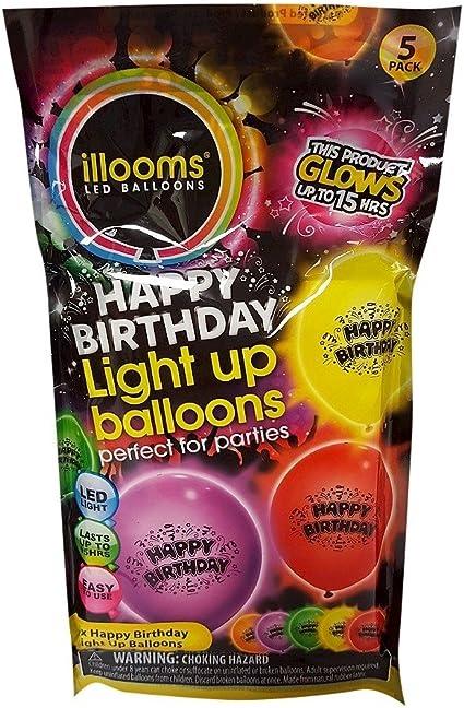 Birthday Girl Illoom Balloons 5 pack of blue pink purple happy birthday illooms