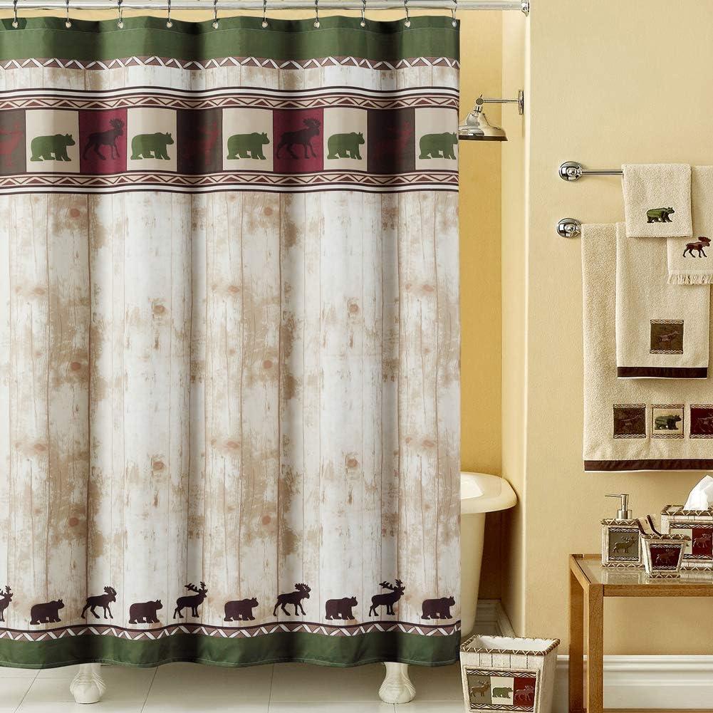 DS BATH Woodland Vintage Bear Shower Curtain,Polyester Microfiber Fabric Shower Curtain,Lodge Shower Curtains for Bathroom,Dk Green Print Decorative Waterproof Bathroom Curtains,72 W x 72 H