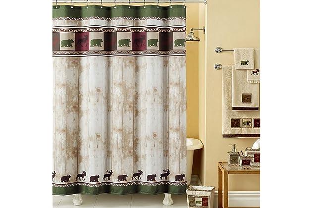DS BATH Woodland Vintage Bear Shower CurtainMildew Resistant Microfiber Fabric CurtainLodge Curtains For BathroomDk Green Print Decorative