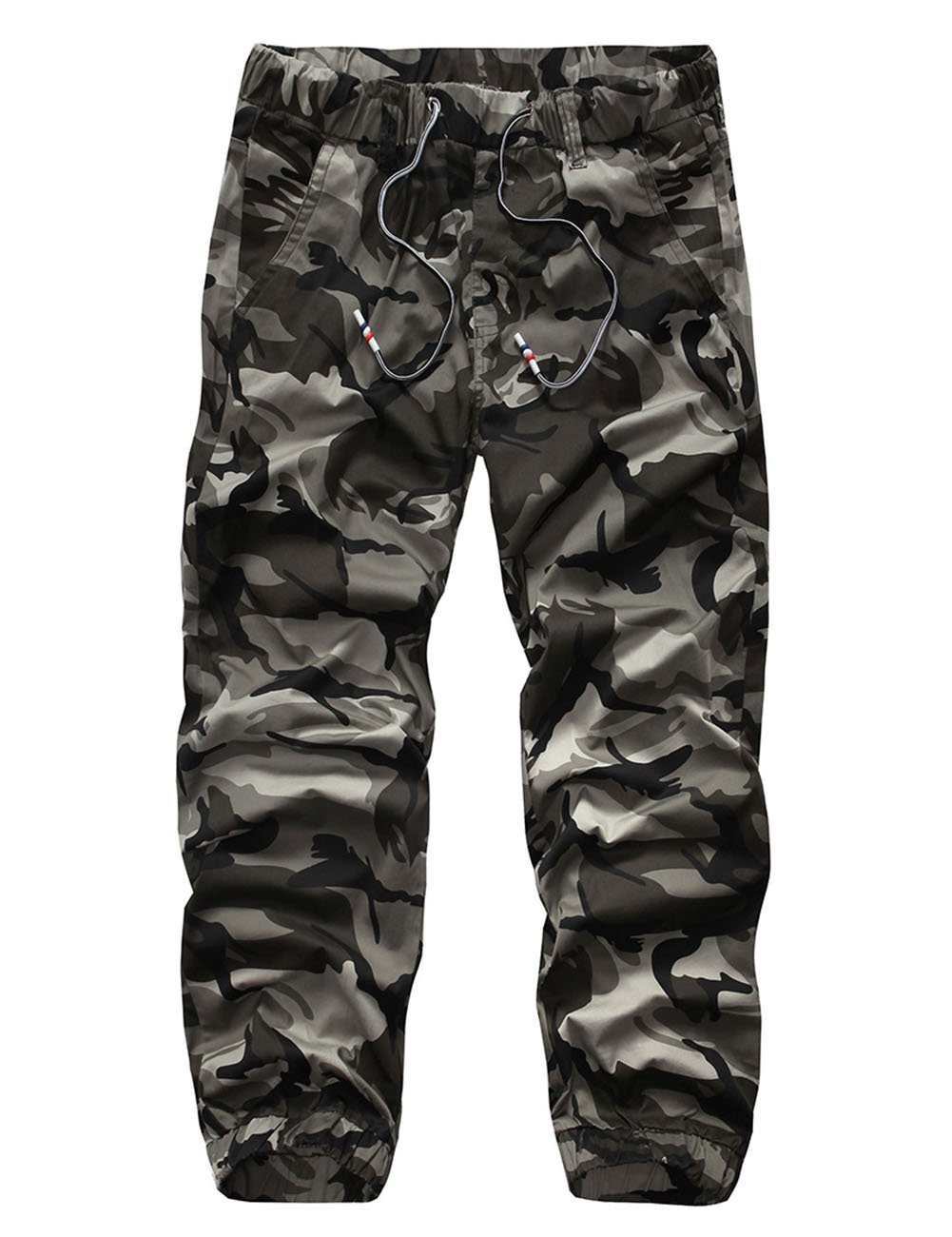 Men's Camouflage Elastic Waist Cotton Overalls Pants