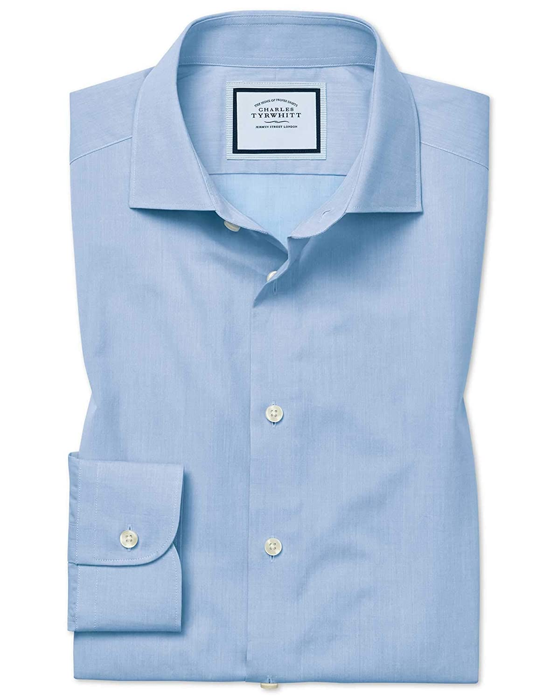 Chemise En Coton égypcravaten Effet Peau-De-Pêche Bleu Ciel à voiturereaux Extra Slim Fit   Bleu Ciel (Poignet Simple)   17.5   36