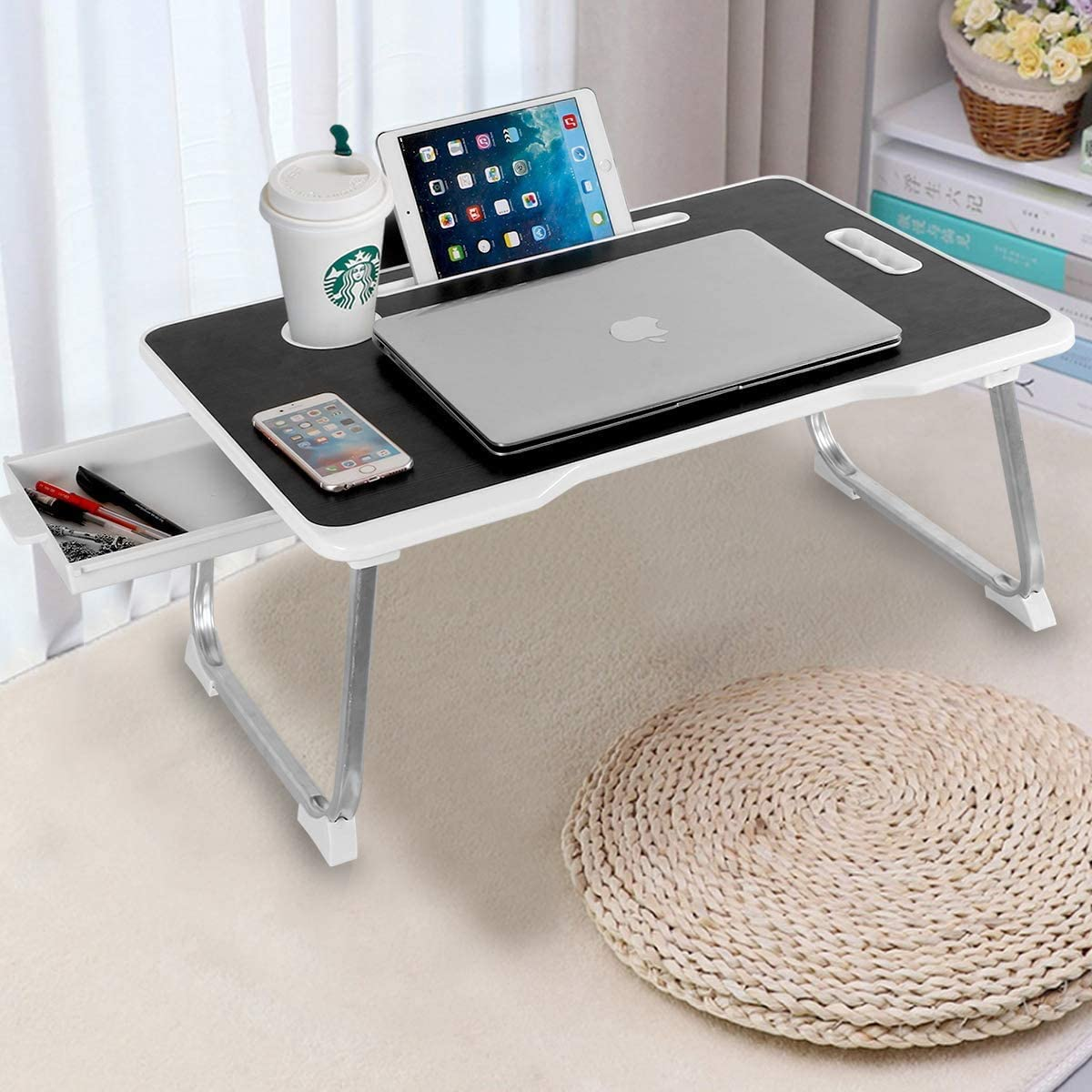 Laptop Desk with Drawer, Aitmexcn Portable Laptop Bed Tray Table Notebook Stand Reading Holder Built in Convenient Handle & Cup Slot & Foldable Legs for Bed/Sofa/Couch/Floor (Black & White)