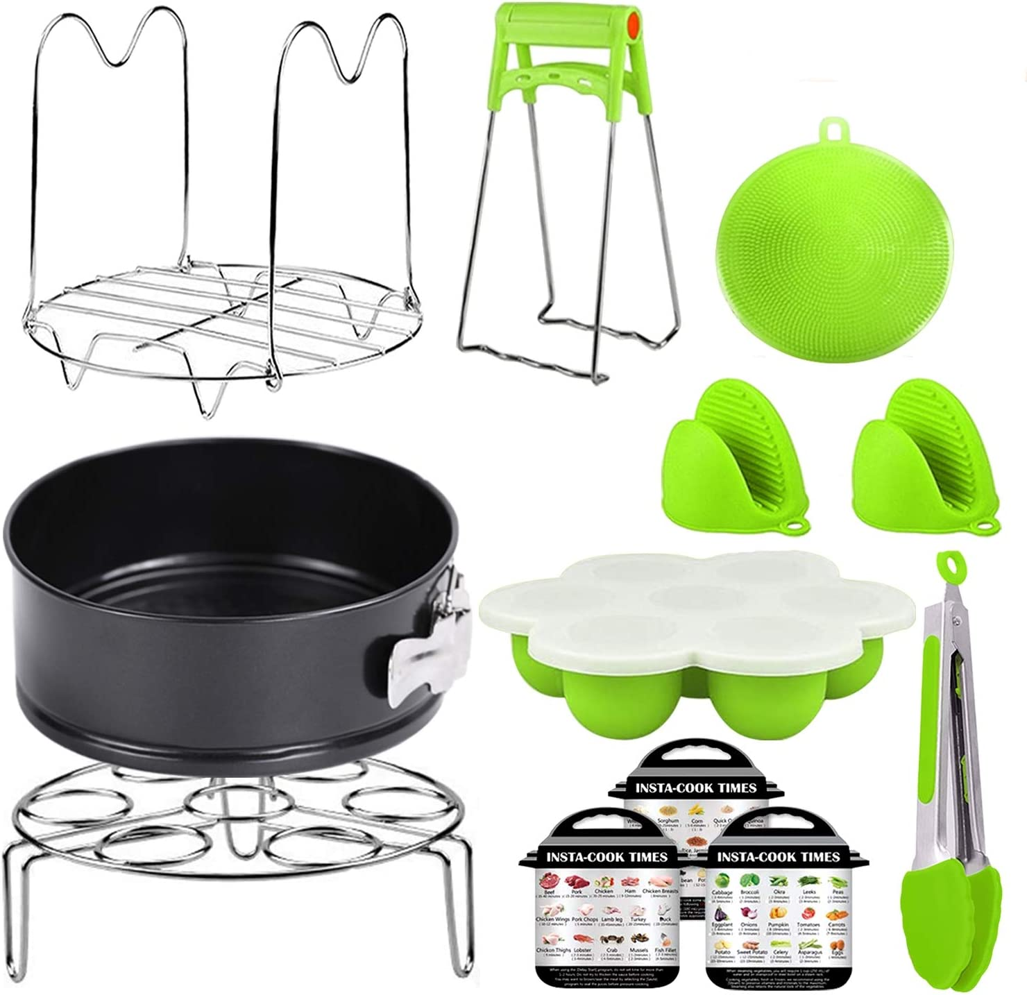 Accesseries for Instant Pot 6, 8 Quarter Only for Pressure Cooker Accessories 6 8 QT Set Compatible with Instapot Kit, Springform Pan, Steamer Rack Basket,Trivet with Long Handle, Egg Bites Mold