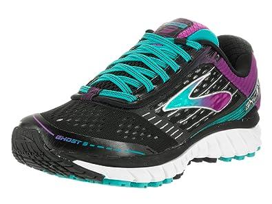 1d5675225f7 Brooks Women s Ghost 9 Wide Black Sparkling Grape Ceramic Running Shoe 7.5  Wide Women