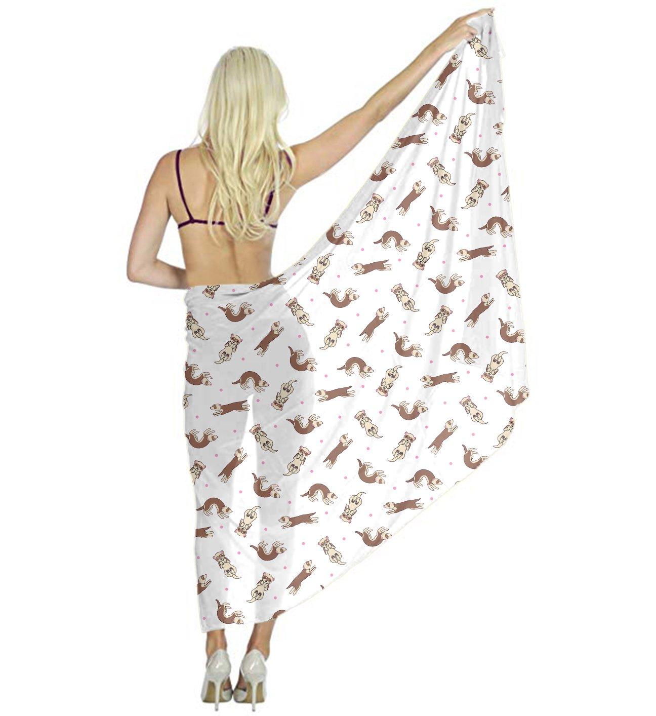 Women Large Soft Shawl, Ferret Frolic Desert Scarf Wrap, Dress Silk Shawl