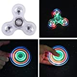 Fidget Spinner Light Up LED Glow in the Dark, Figit Finger Hand Toys Cool Ceramic Bearing Ultra Durable Plastic Rainbow, Perfect for Stress Anxiety Reducer, Time Killing for Adults Children BOYON