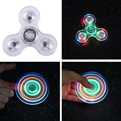 Fidget Spinner Light Up LED Glow In The Dark Figit Finger Hand Toys Cool Ceramic