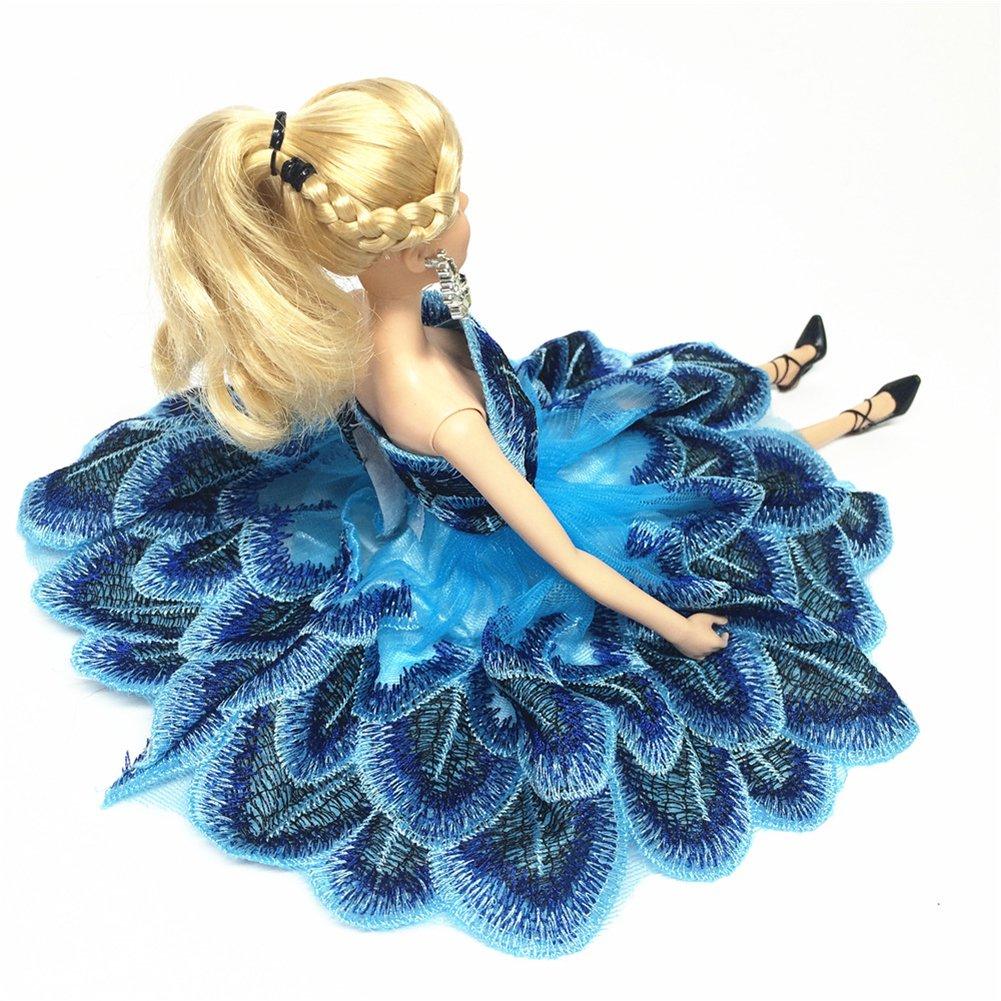 Zantec Vestito da bambola alla moda Abito ballerina con ricamo floreale per  barbie 5pz  8pz ... 114c5415256f