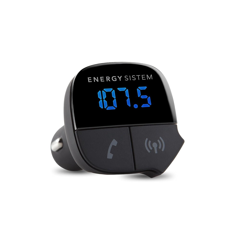 Energy Sistem Energy Car Transmitter - Reproductor MP3 con Bluetooth para el coche y transmisor FM (cargador USB, manos libres con micró fono integrado y pantalla), negro manos libres con micrófono integrado y pantalla) 42431