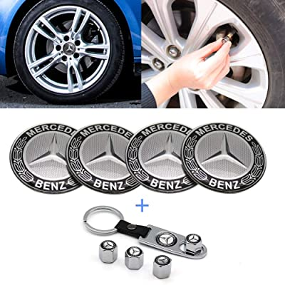 Fast & Furious 4PCS 65mm Car Wheel Center Hub Caps Emblem Badge Sticker for Mercedes Benz (Black): Automotive
