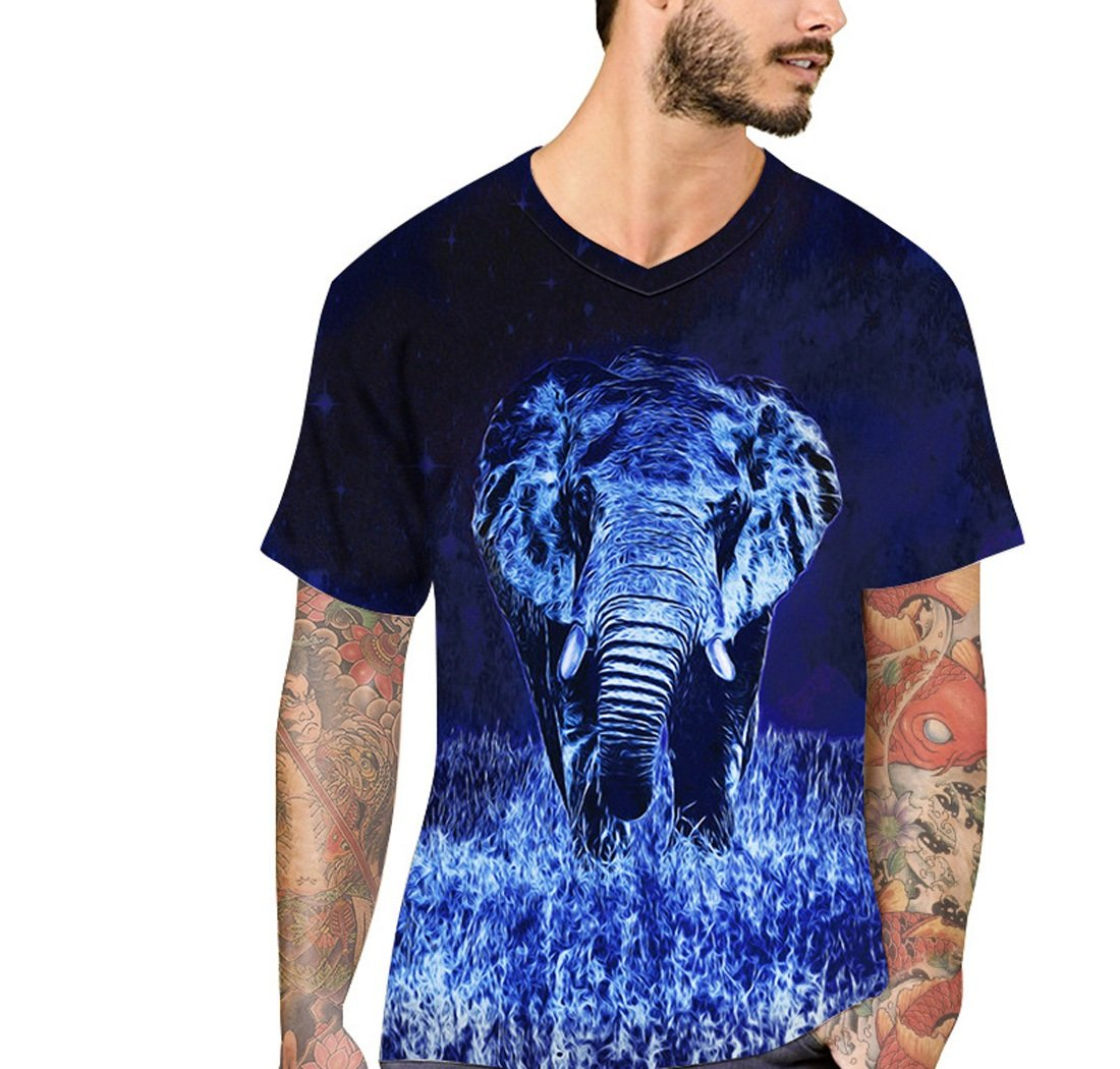 Camiseta Con Cuello En Pico Simple Azul Camiseta Estampada Con Elefante En 3D Manga Corta Camiseta Larga De Verano Con Tamaño Europeo Street Top European Size M - Xxl Ydxwan
