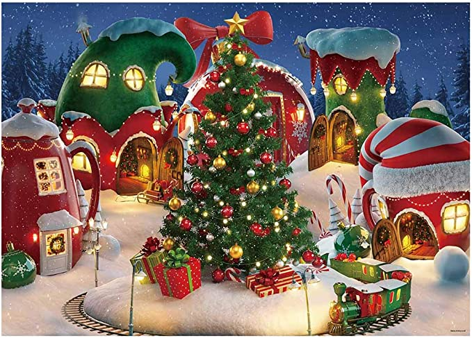 Christmas 10x15 FT Backdrop Photographers,Cat with Santa Claus Hat Whiskers on The Pillow Winter Night Cartoon Artwork Background for Photography Kids Adult Photo Booth Video Shoot Vinyl Studio Props