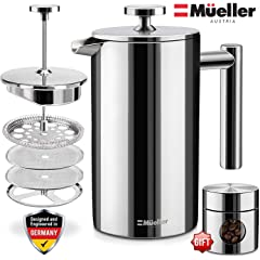 Product Image: Mueller French Press 20% Heavier Duty Double Insulated 310 Stainless Steel Coffee Maker Multi-Screen System 100% No Coffee Grounds Guarantee, Rust-Free, Dishwasher Safe