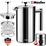 Mueller French Press Coffee Maker, 20% Heavier 18/10 Stainless Steel, Multi-Screen System, Rust-Free, Dishwasher Safe<br /><br />