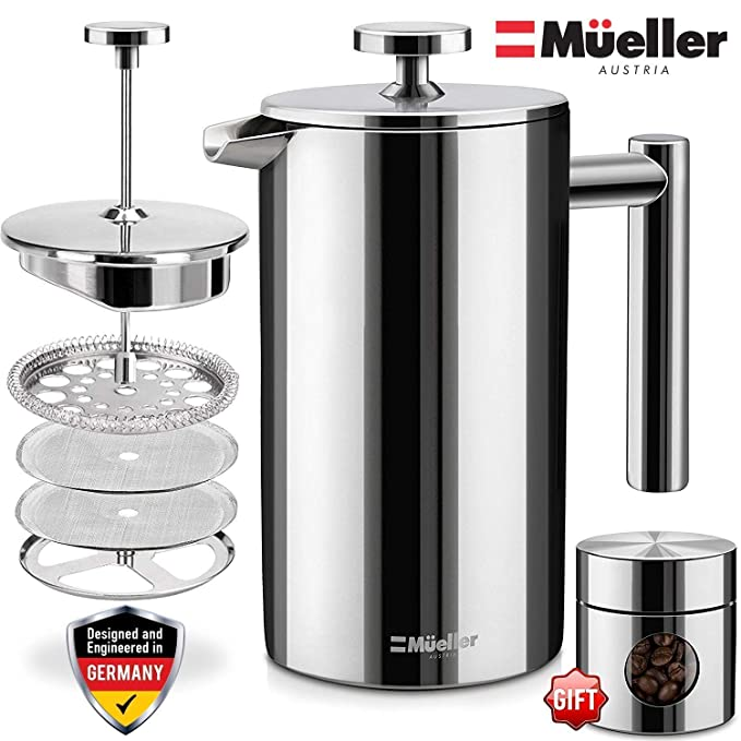 Mueller French Press Coffee Maker, 20% Heavier 18/10 Stainless Steel, Multi-Screen System, Rust-Free, Dishwasher Safe best french presses