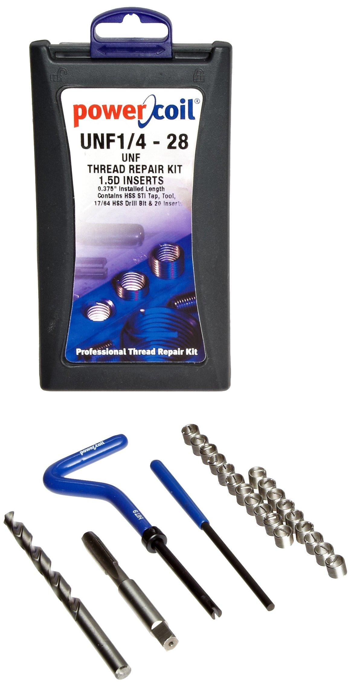 PowerCoil 3534-1/4K Free Running Coil Threaded Insert Kit, 304 Stainless Steel, 1/4''-28 Thread Size, 0.375'' Installed Length