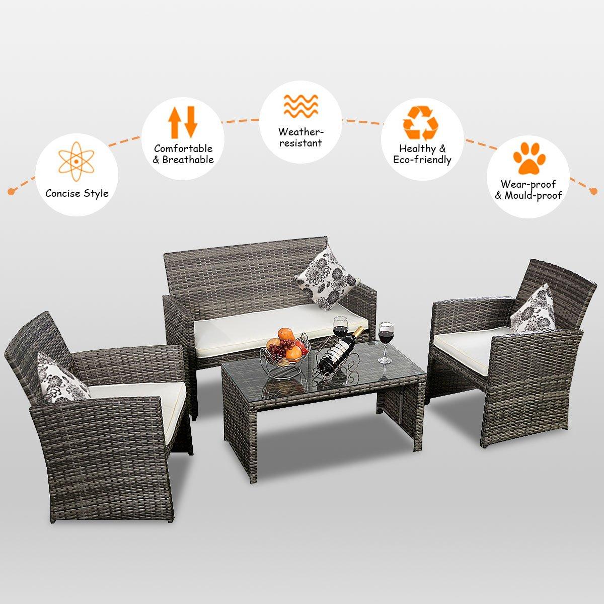 Goplus 4 PC Rattan Patio Furniture Set Garden Lawn Sofa Cushioned Seat Wicker Sofa (Mix Gray) by Goplus (Image #4)