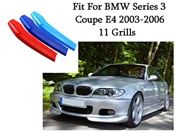 BizTech ® Parrillas de coche Inserciones Rayas decoración para B M W Series 3 Coupe 2003-2006 E46 11 Stats Grills Bars M Power M Sport Tech: Amazon.es: ...
