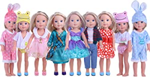 ZWSISU 5PCS Doll Clothes Outfit for 14.5 Inch Wellie Wisher Dolls Include 5 Pieces of Random Style Clothes
