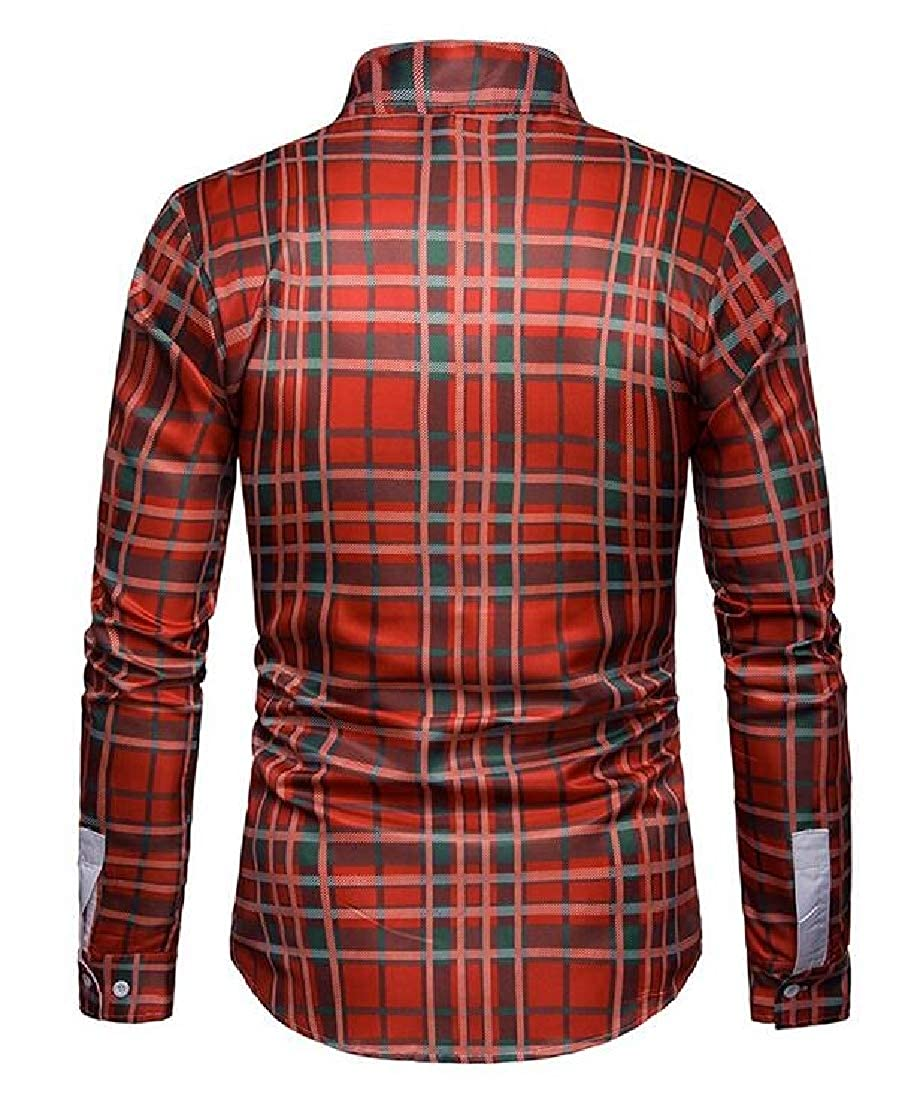 Fubotevic Mens Casual Slim Fit Long Sleeve Lapel Neck Checkered Button Up Dress Shirt