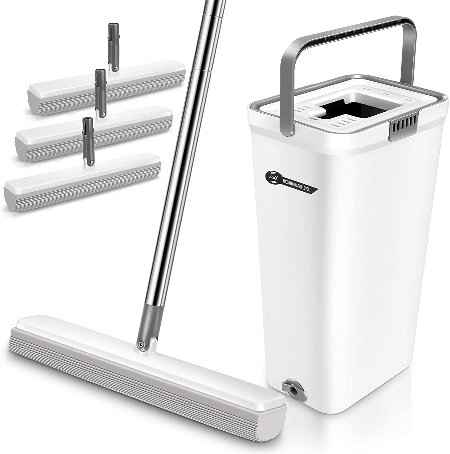AONE Sponge Mop and Bucket Set for Floor Cleaning - Super Absorbent PVA Mop with 3 Sponge Heads for Home Tile Floor Bathroom - (White)