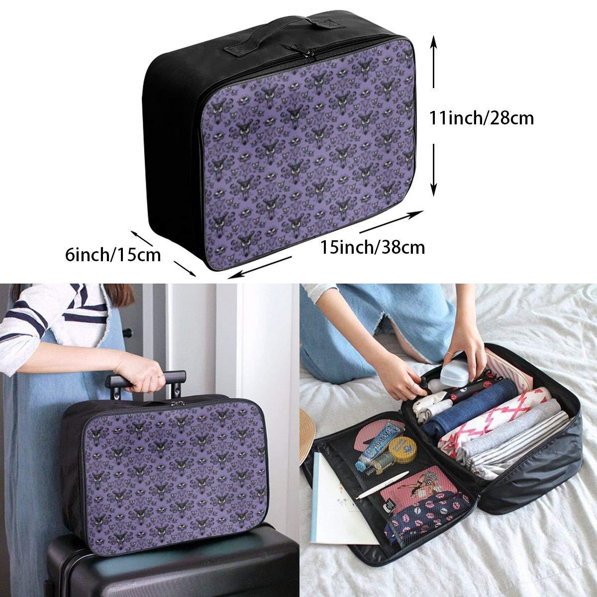 ADGAI Haunted Mansion Canvas Travel Weekender Bag,Fashion Custom Lightweight Large Capacity Portable Luggage Bag,Suitcase Trolley Bag