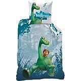 DINO Kinder Jungen Bettwäsche Dinosaurier · Disney Arlo & Spot · Wende Motiv · blau , grün, türkis · 2 teilig · Kissenbezug 80x80 + Bettbezug 135x200 cm · 100 % Baumwolle