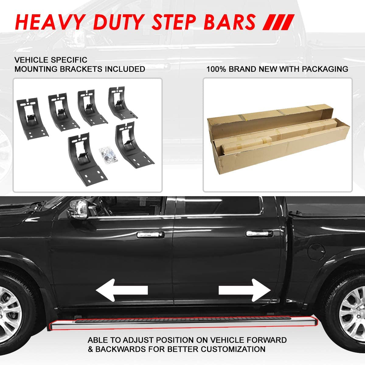5 Inches Chrome Flat Side Step Nerf Bar Running Boards Replacement for Dodge Ram 1500 2500 3500 Crew Cab 09-20