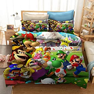 Super Mario Bed Set 3 Pieces, Game Themed Kids Duvet Cover Set King, Cartoon Decorative Microfiber Bedding Collection, Pattern 7