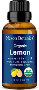 Organic Lemon Essential Oil 30 ml - Certified USDA Pure and Natural Therapeutic Grade - Excellent Air Freshener - Perfect for Aromatherapy, Skin, and Hair Care by Nexon Botanics