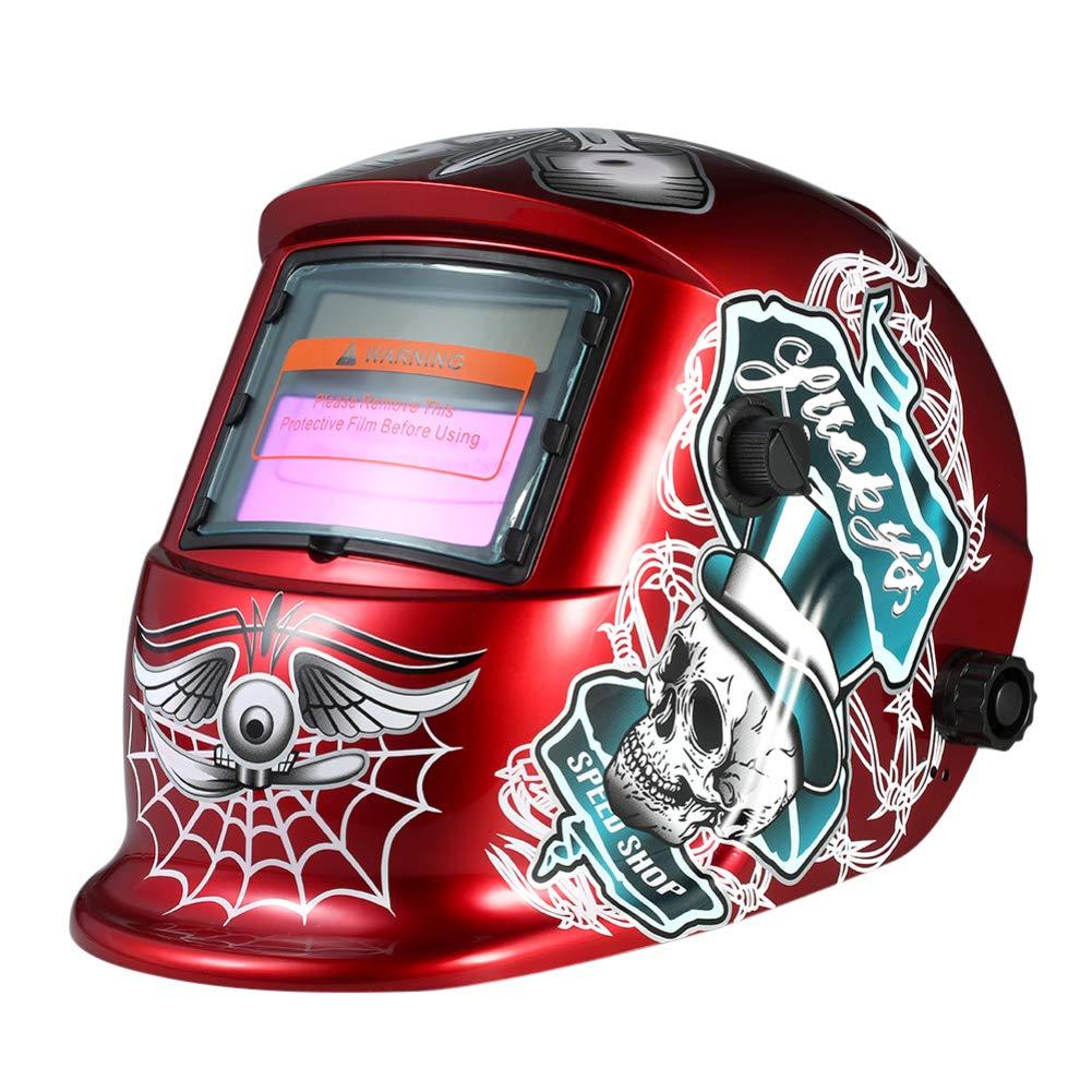 0Miaxudh Máscara del Soldador de molienda del Casco de Soldadura, Casco de Soldadura de oscurecimiento automático Solar Rojo del cráneo Arco TIG Mig Red: ...