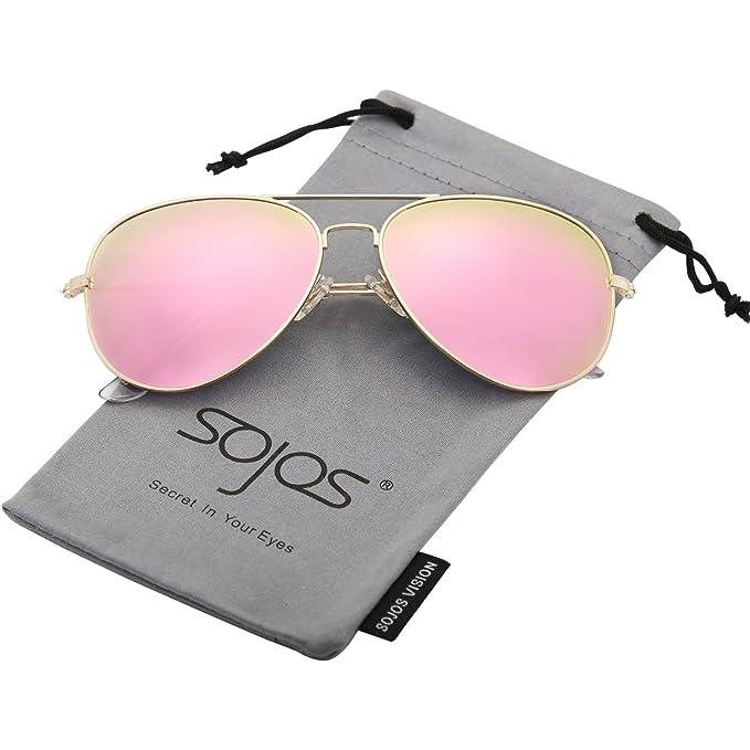 SOJOS Gafas De Sol Para Hombres Y Mujeres Aviator Clásico Marco Metal Lentes Espejo Polarizadas SJ1054 Marco Dorado/Lentes Rosadas: Amazon.es: Ropa y ...