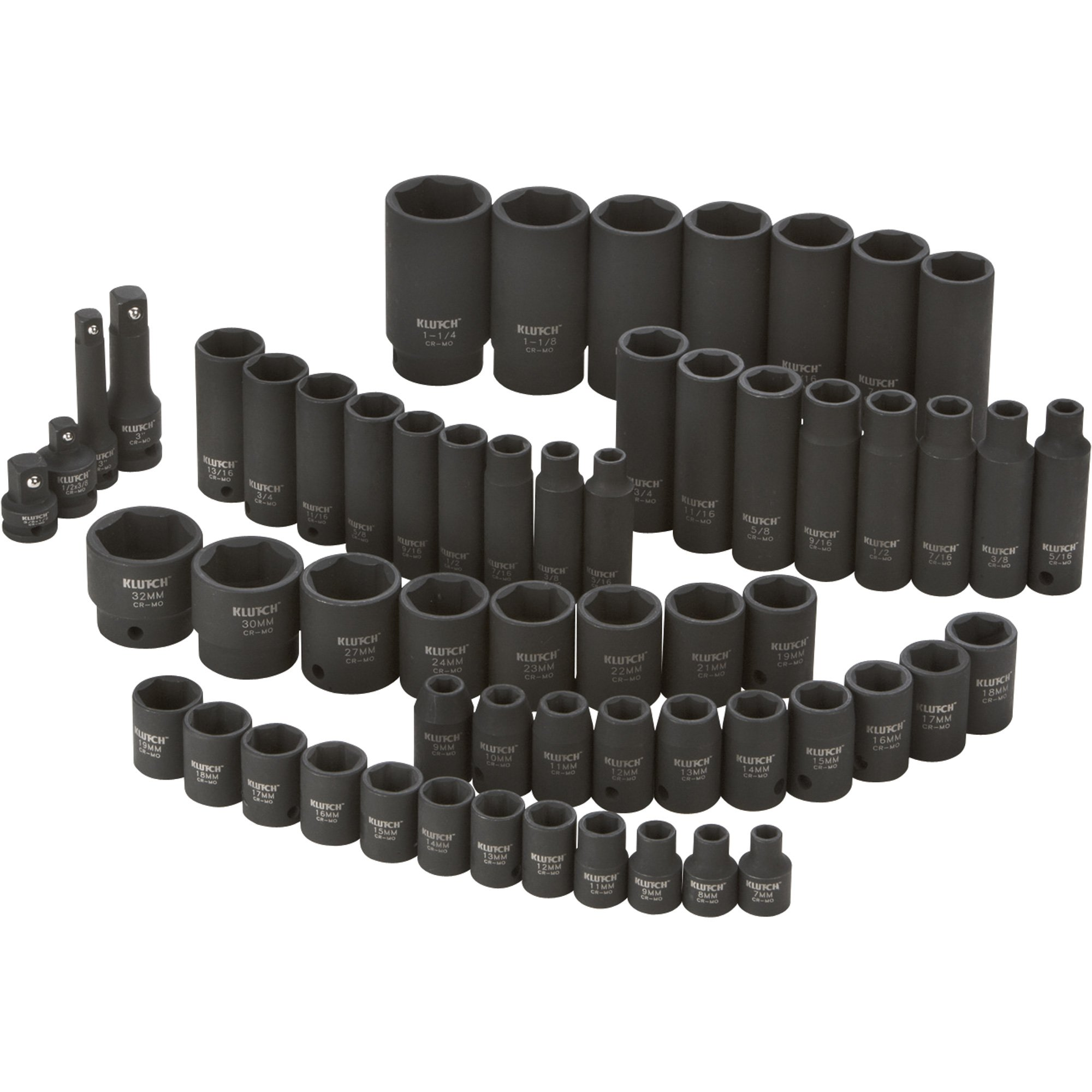 Klutch Impact Socket Set - 59-Pc., 3/8- and 1/2-Drive, SAE/Metric