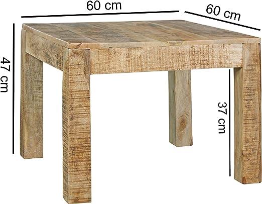 Mesa de Centro Rustic 60 x 60 x 47 cm Mango Macizo de Madera ...