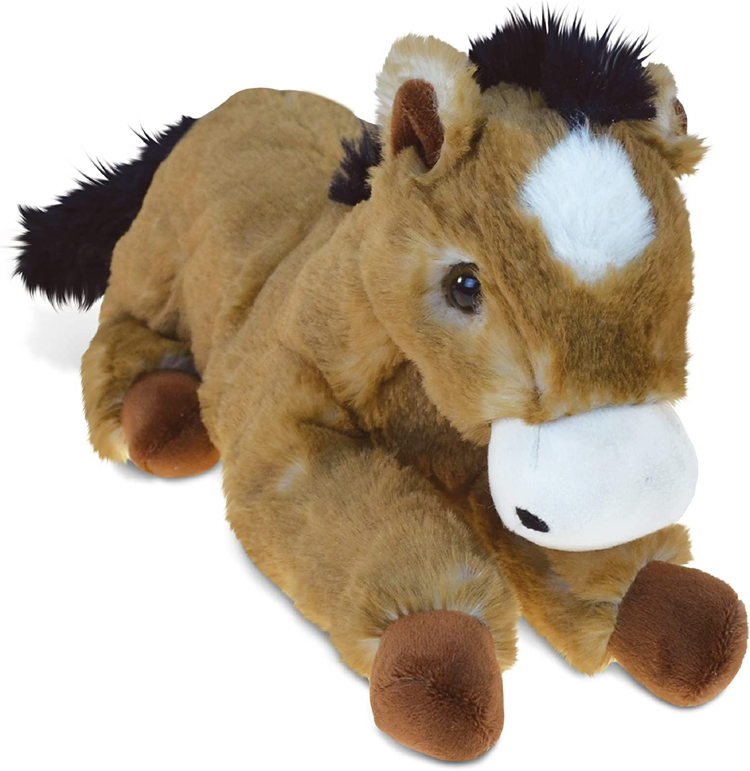 Plushland 14 Inches Soft Brown and Black Horse Stuffed Animal Toy Gift for Baby
